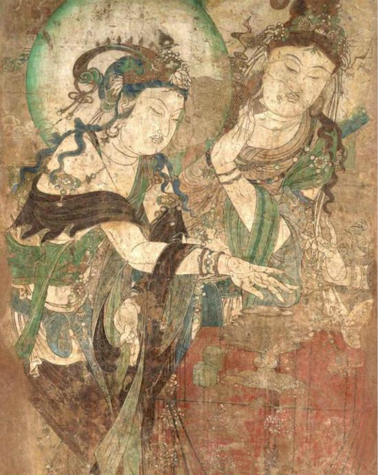 五代时期慈胜寺壁画(局部),《菩萨焚香图》,纳尔逊艾金斯艺术博物馆藏。