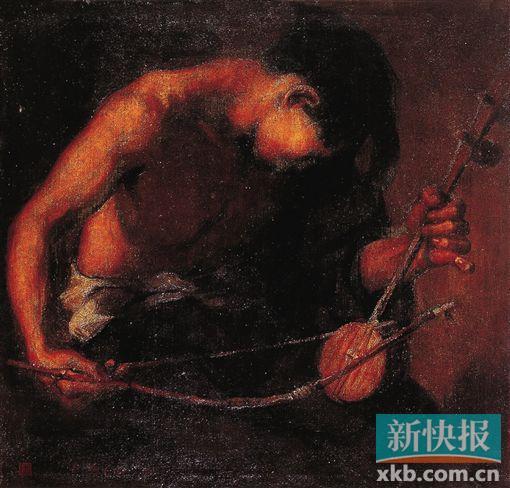 作品赏析 余本《奏出人间的辛酸》 ●布面油彩,1930年, 中国美术馆藏 画家以写实的手法,塑造了一位海外华工动人的形象——他裸露着健壮而又疲惫的胳膊,粗糙的手指紧紧压在二胡的琴弦上,用整个身心在拉着琴,奏出如泣如诉的琴声。褐色的画面深沉雄伟,有一股摄人心魄的力量。