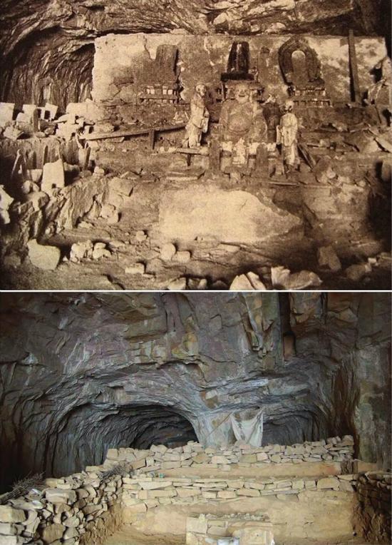 �子洞。上图为帕金斯基1912年拍摄,下图Eileen Hsiang-Ling Hsu博士2008年拍摄。