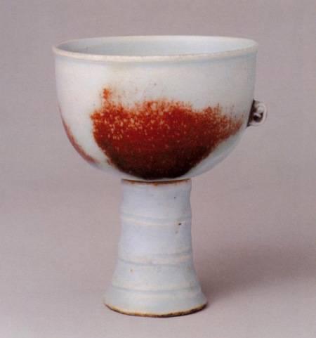 元 釉里红斑高足杯