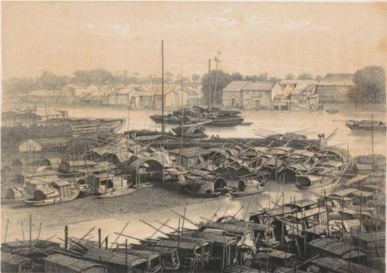 于勒·埃迪尔,《广州,浮动的城市》,摄于1844年