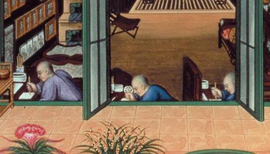 有趣的是,他们都用着传统的中式手法拿着画笔,绘制出西式的作品。