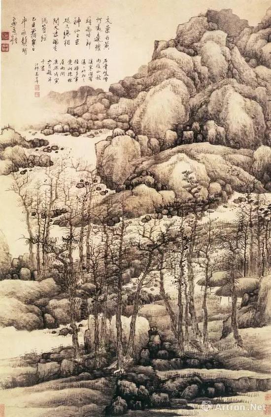 清代 金陵八家之一 龚贤《木叶丹黄图》