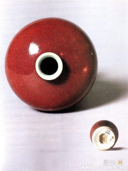 ■冯玮瑜收藏的郎窑红釉梅瓶及底部