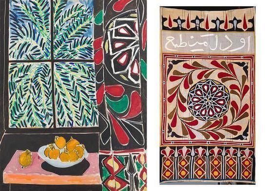 左为马蒂斯的静物作品《窗边的玫瑰》,右为马蒂斯收藏的埃及窗帘(图源:皇家艺术研究院)