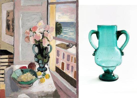 左为马蒂斯作品《窗边的玫瑰》,右为马蒂斯的收藏安达卢西亚玻璃花瓶(图源:皇家艺术研究院)