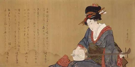 《弹奏三味线的美人图》,江�跏贝�(1804-1806年左右),喜多川歌�O