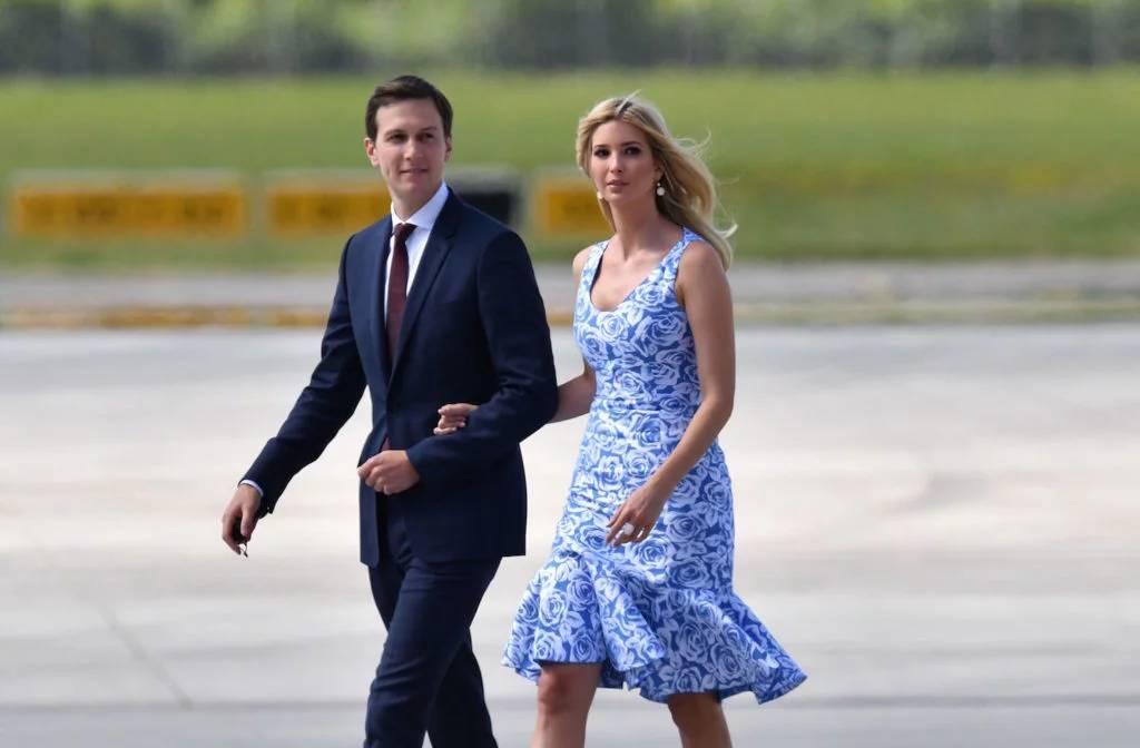 美国总统唐纳德·特朗普之女伊万卡·特朗普跟她的丈夫——白宫资深参谋贾里德·库什纳。图片:申谢AFP PHOTO/dpa/Bernd Von Jutrczenka /Germany OUT