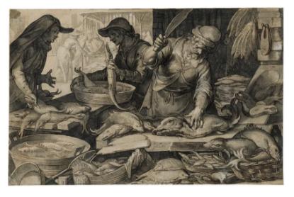 Joachim Anthonisz Wtewael,《鱼市》(A Fish Market)。图片:Courtesy Sotheby's