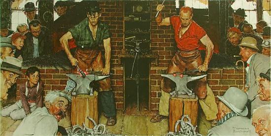 诺曼?洛克威尔,《沙夫茨伯里锻工场》,1940年