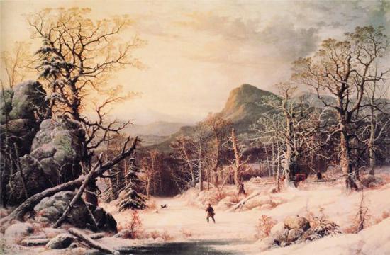 亨利·杜里,《冬季在森林里打猎的猎人》,1860年
