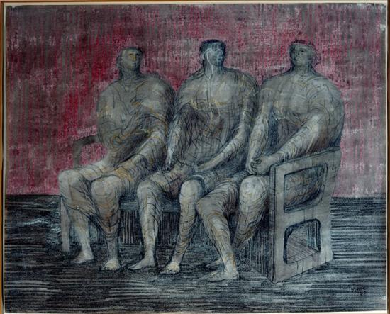 亨利·摩尔,《三个坐着的人》,1942年