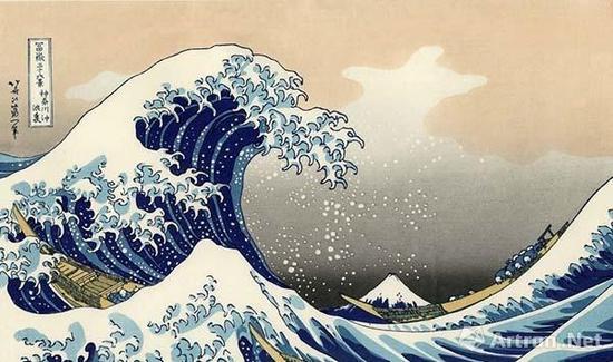 《神奈川冲浪里》,葛饰北斋,创作于1831年,此为版画,原画已毁,早期印刷品分别藏于东京富士美术馆、大英博物馆、大都会艺术博物馆等