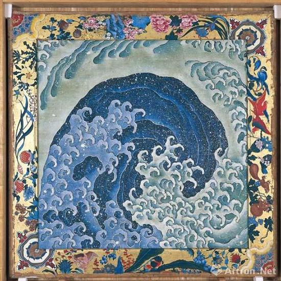波浪(马车桐木天花板上油墨和颜色所绘),葛饰北斋,1845年
