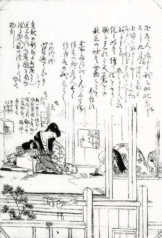 葛饰北斋和女儿窘迫的生活状况被学生露木为一凭记忆画了出来