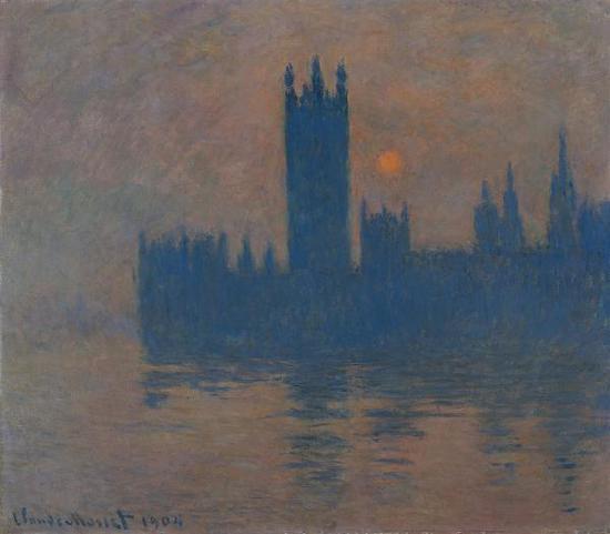 克劳德·莫奈,《日落时分的议会大厦》(1904),藏于凯撒威廉博物馆