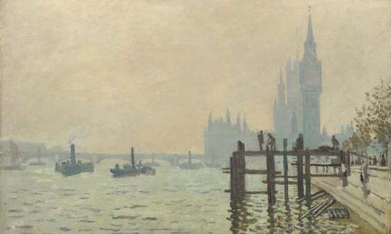 卡米耶·毕沙罗,《查令十字桥》(1890),藏于英国伦敦国家美术馆