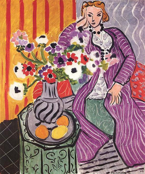 马蒂斯,《紫色长袍与银莲花》,1937年