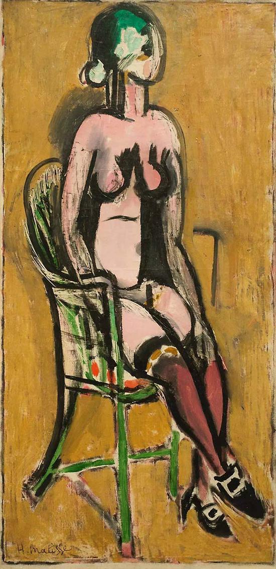 马蒂斯,《穿紫色长筒袜的裸女坐像》,1914年
