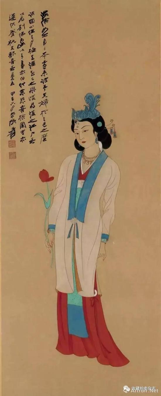 张大千 《拈花仕女图》1954年