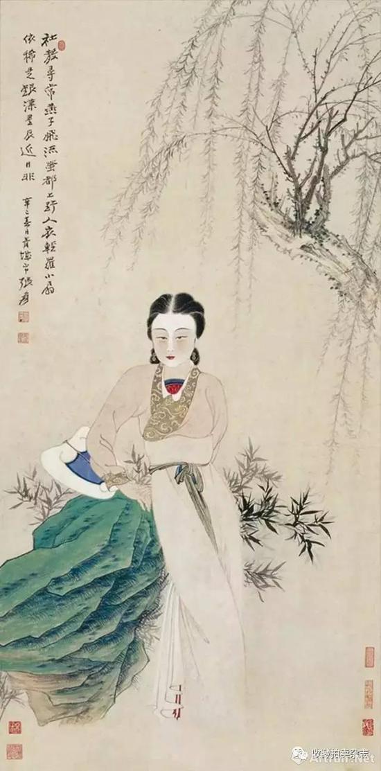 张大千 《柳荫仕女》 1941年