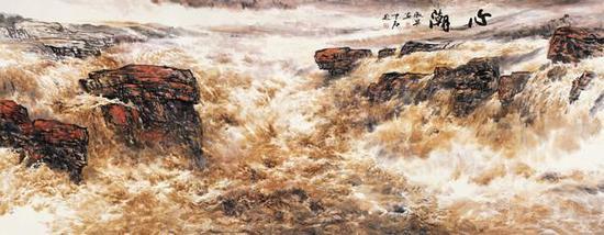 心潮 365X145 欧阳中石题 刘淑琴画