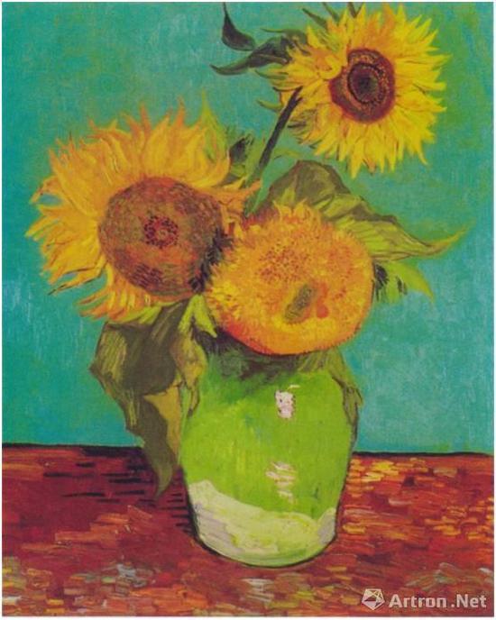 花瓶里的三朵向日葵
