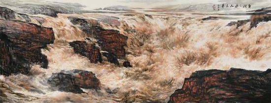 黄河之水天上来 365cm×145cm 张飚题 刘淑琴画