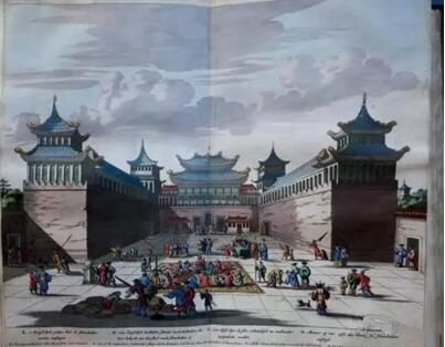 《荷兰人在北京朝贡图》 1662年,彩色版画,Olfert Dapper,GedenkwaerdigBedrijf, 1670年