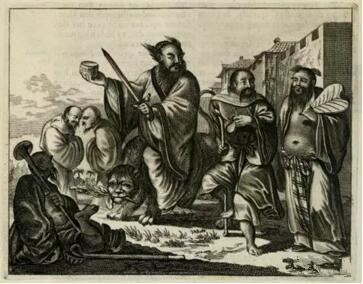 张道陵,李铁拐,钟离权等图像的版画模本,在于Olfert Dapper,Gedenkwaeardig Bedrijf, 1670年