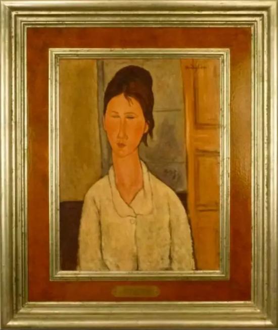 Elmyr de Hory所伪造的莫迪里阿尼作品《一个女人肖像》(Portrait of a Woman),约1955年左右。Scott Richter and Pamela Richeter-Lenon 收藏。图片:Courtesy of the Winterthur Museum