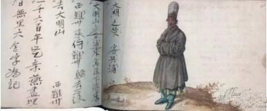 马来西亚华侨商人兴浦的肖像和亲笔字。De Vrise, Album Amicorum, 1601年。私人收藏