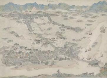 《福州市》,中国青绿山水画,十七世纪末,阿姆斯特丹国家博物院收藏