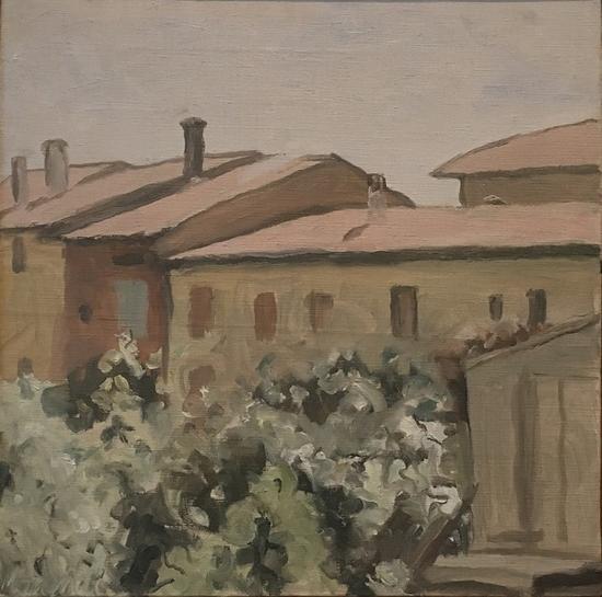 丰扎达大街的庭院,油画,1953