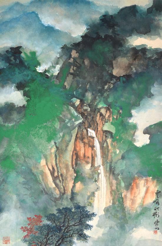 《云峰秋树》 69x45cm