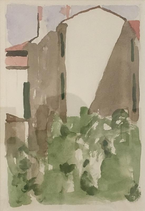 丰扎达大街的庭院,油画,1956