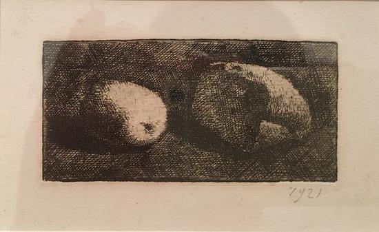 静物面包和柠檬,版画,1921