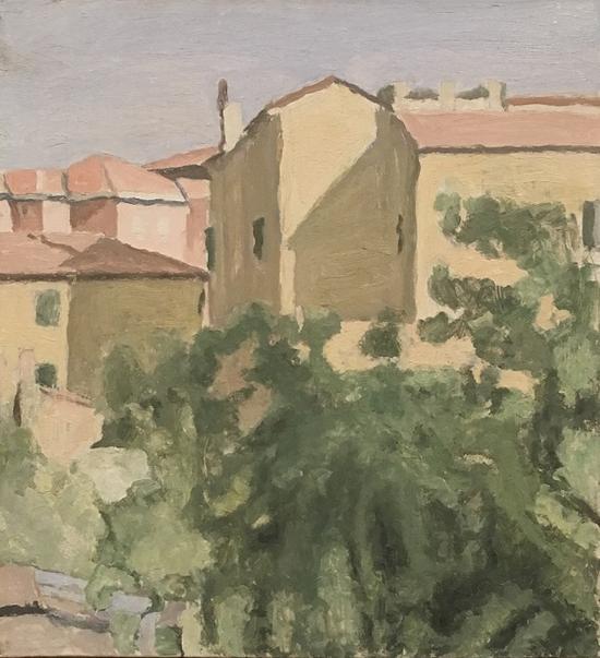 丰扎达大街的庭院,油画,1962
