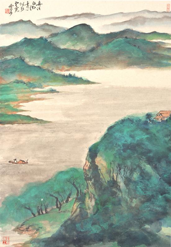 《舟泛江湖远》 83x57cm