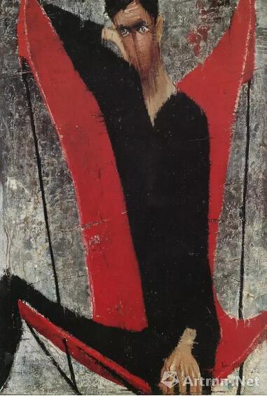 顾福生《何先生》油彩画布1959年作台北市立美术馆馆藏