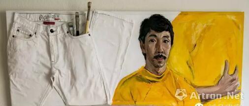 顾福生,自画像,1980,综合媒材/画布,46 x 122 cm