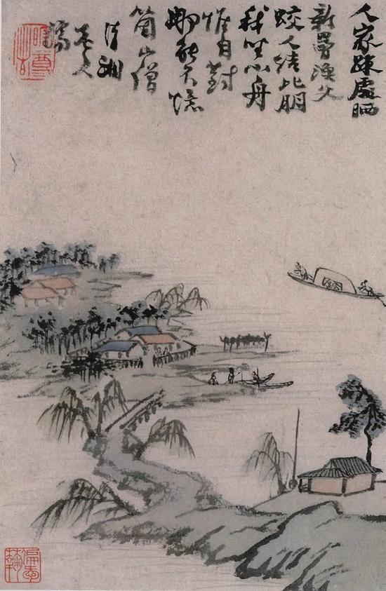 十二开江行舟中作图册之一 程心柏旧藏