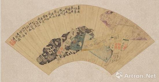 陈炳昌《喜居陋巷》(正面),1945,纸本扇面,现藏于波士顿美术馆。图片:波士顿美术馆