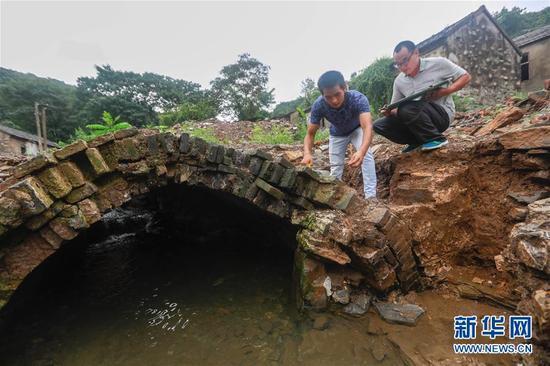 8月22日,在江苏省盱眙县棚户区改造现场,工作人员戚家坤(左)、刘刚在对三星桥进行考古勘查。