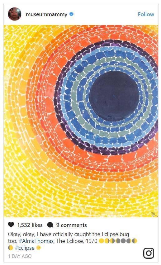 """""""讲真,我真的抓拍到了日食!Alma Thomas,《Eclipse》,1970""""。图片:museummammy的Instagram"""