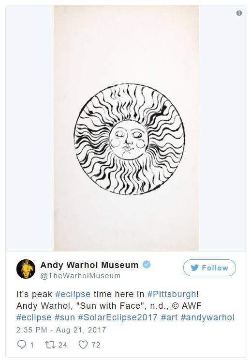 """""""匹兹堡的日食时间到了!安迪·沃霍尔,《Sun with Face》,n.d。""""。图片:Andy Warhol Museum的Instagram"""