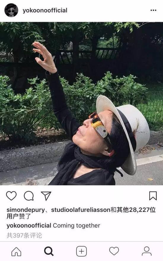 """""""一起来吧!""""。图片:yokoono official的Instagram"""