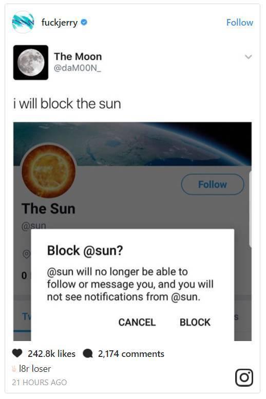 """""""我将要遮住太阳了!""""。图片:Jerry Saltz的Instagram"""