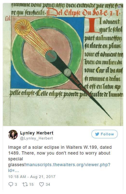 """""""看,这是1489年在Walters W.199日全食的照片。看这张照片的时候,你不用带特殊的眼镜噢!""""。图片:Lynley Herbert的Instagram"""