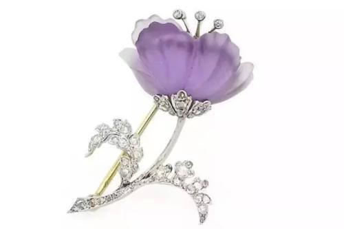 紫水晶钻石胸针